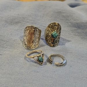 Silver rings! Set of 4! Turquoise and silver